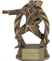 """Antique Gold Star Trim Martial Arts Trophy 14cm (5.5"""")"""