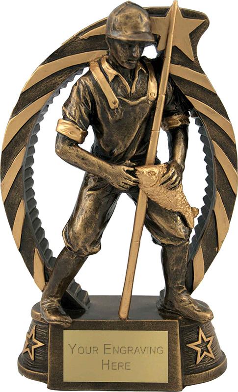 "Antique Gold Star Trim Fisherman Trophy 19cm (7.5"")"