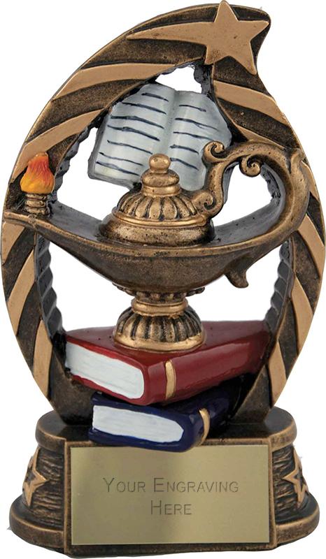"Antique Gold Star Trim Lamp of Knowledge Trophy 13cm (5.25"")"