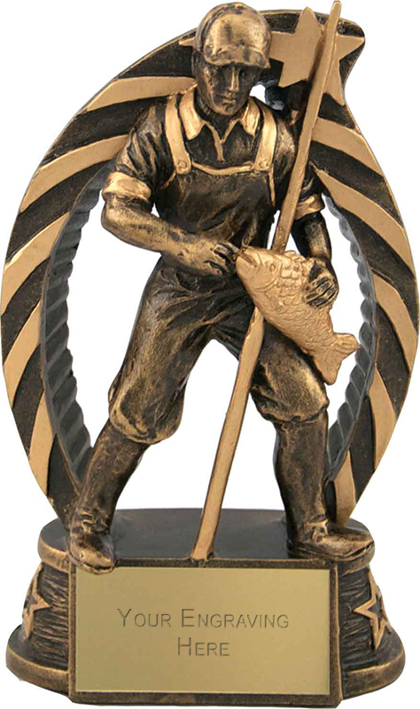 "Antique Gold Star Trim Fisherman Trophy 15cm (5.75"")"