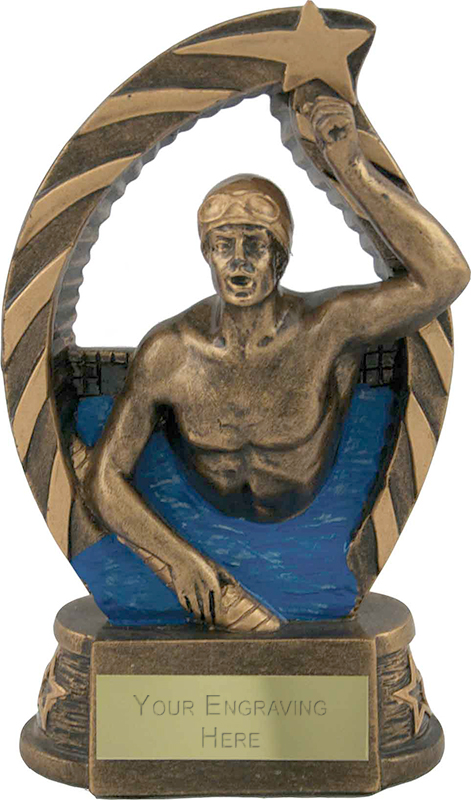 "Antique Gold Star Trim Male Swimmer Trophy 14cm (5.5"")"