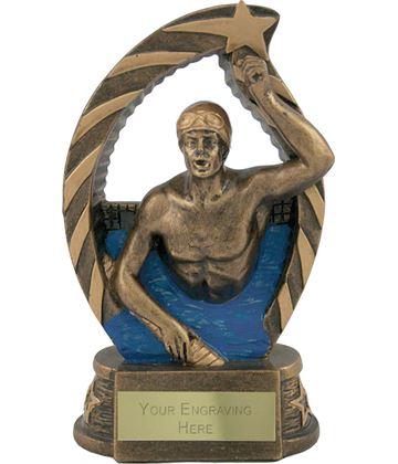 "Antique Gold Star Trim Male Swimmer Trophy 14cm (5.5"")"