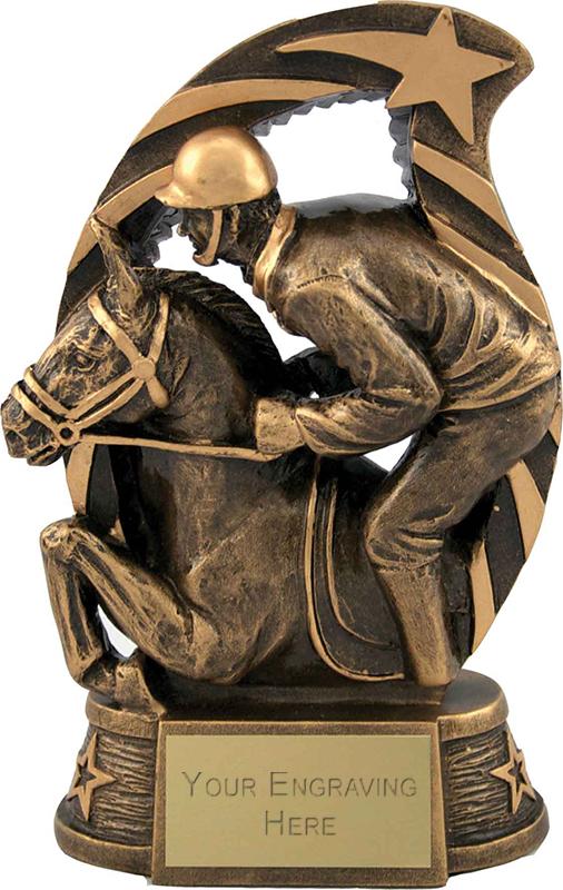 "Antique Gold Star Trim Horse & Jockey Trophy 17cm (6.75"")"