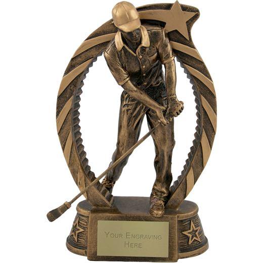 "Antique Gold Star Trim Golfer Trophy 18cm (7.25"")"