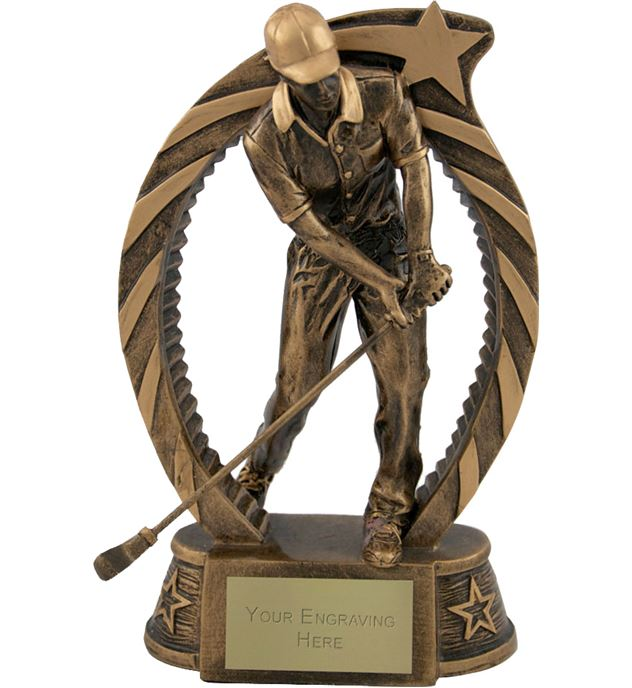 "Antique Gold Star Trim Golfer Trophy 18cm (7.25"")"