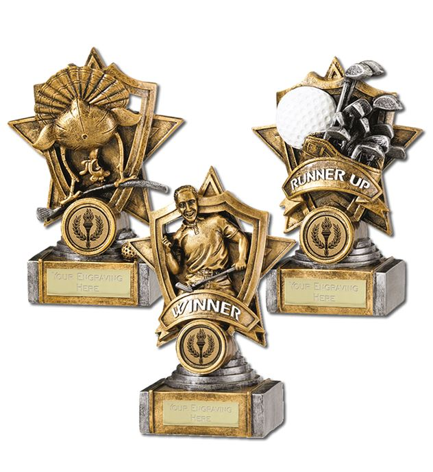 Golf Trophy Package Shield Star Design