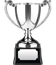 "Nickel Plated Short Stem Cast Cup on Black Base 11.5cm (4.5"")"