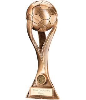 "Gold Football Trophy with Stylish Twisted Pillars 34.5cm (13.5"")"