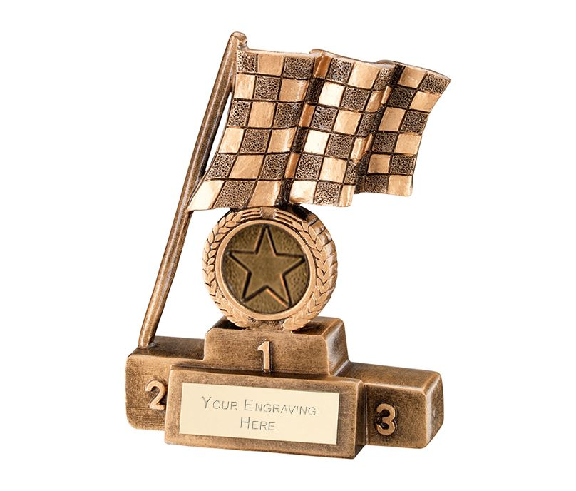 "Antique Gold Chequered Flag on Podium Motorsports Trophy 10cm (4"")"