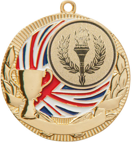 "Gold Union Jack & Wreath Medal 50mm (2"")"
