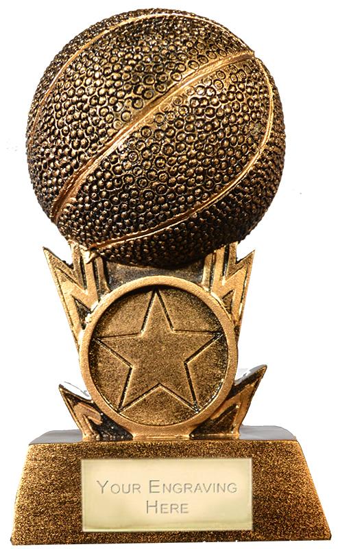 """Antique Gold Resin 3D Basketball Trophy 11cm (4.25"""")"""