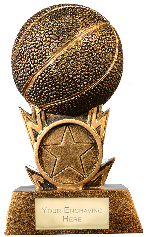 "Antique Gold Resin 3D Basketball Trophy 11cm (4.25"")"