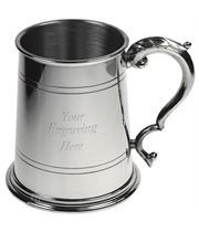 "Double Lined 1pt Sheffield Pewter Tankard with Fancy Handle 11.5cm (4.5"")"
