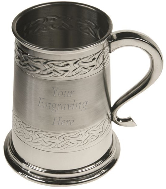 "Celtic Band Embossed 1pt Sheffield Pewter Tankard 11.5cm (4.5"")"