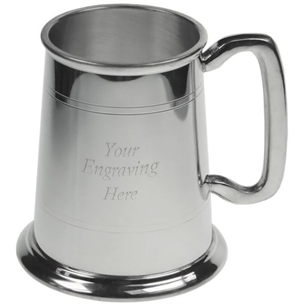 "Double Lined Glass Bottom 1pt Sheffield Pewter Tankard 11.5cm (4.5"")"