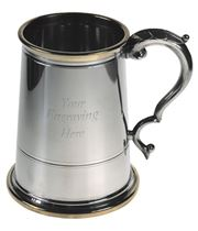 "Brass Rim & Base 1pt Sheffield Pewter Tankard 13cm (5.25"")"