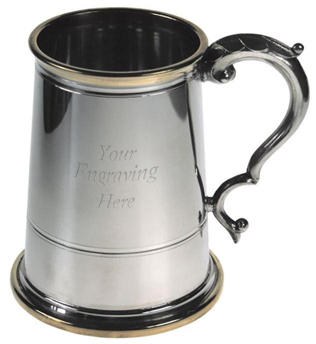 "Glass Bottom Brass Rim & Base 1pt Sheffield Pewter Tankard 13cm (5.25"")"