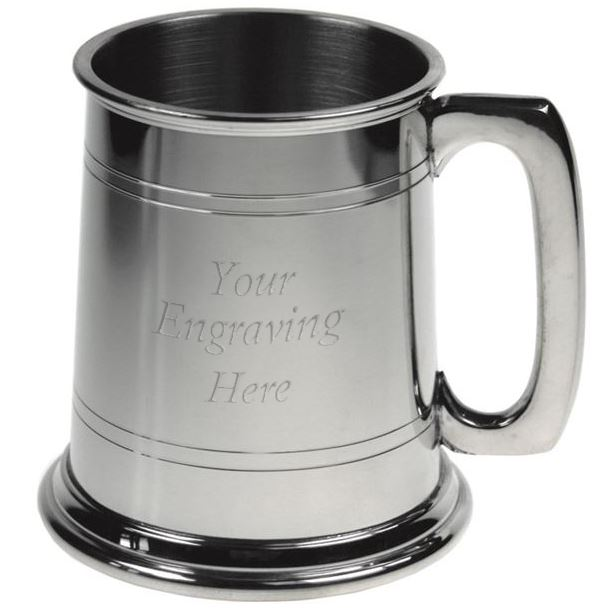 """Double Lined 1/2pt Sheffield Pewter Tankard 9.5cm (3.75"""")"""