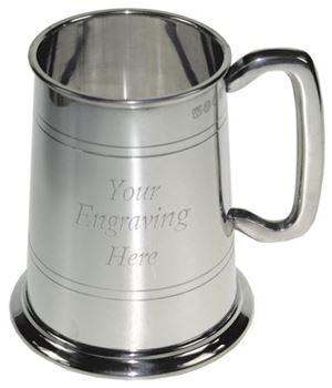 "1pt Double Lined Glass Bottom Sheffield Pewter Tankard 12.5cm (5"")"