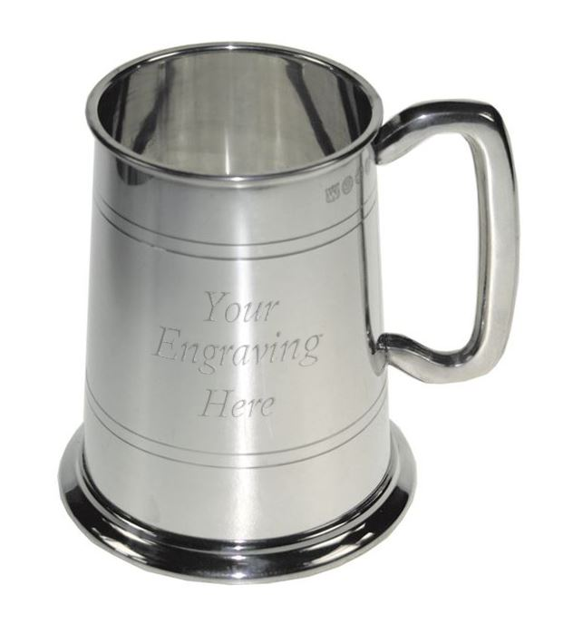 "1pt Double Lined Glass Bottom Sheffield Pewter Tankard 12.5cm (5"")"