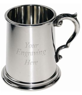 """1/2pt Plain Sheffield Pewter Tankard with Scroll Handle 9.5cm (3.75"""")"""