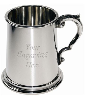 "1/2pt Plain Sheffield Pewter Tankard with Scroll Handle 9.5cm (3.75"")"