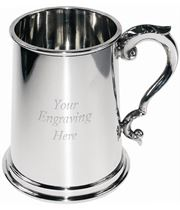 """1pt Plain Sheffield Pewter Tankard with Scroll Handle 12.5cm (5"""")"""