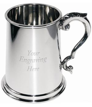 "1pt Plain Sheffield Pewter Tankard with Scroll Handle 12.5cm (5"")"