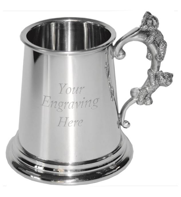 "1/4pt Children's Sheffield Pewter Tankard with Teddy Bear Handle 7.5cm (3"")"