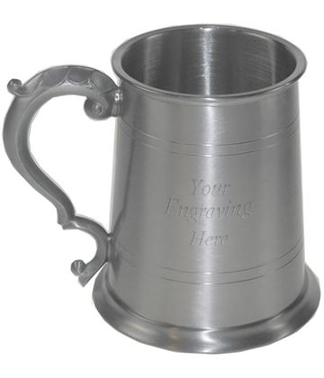 "Antique Finish 1pt Sheffield Pewter Tankard 11.5cm (4.5"")"