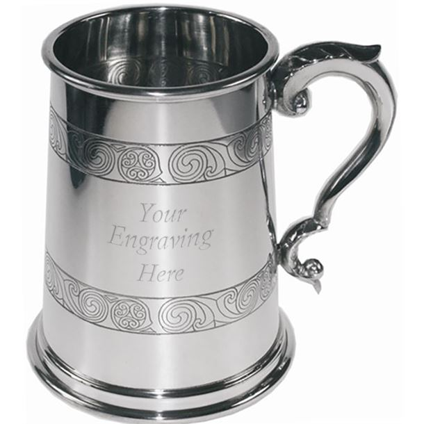 "Kells Embossed 1pt Sheffield Pewter Tankard 12.5cm (5"")"