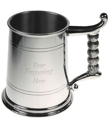 "1pt Sheffield Pewter Tankard with Rope Handle 11.5cm (4.5"")"