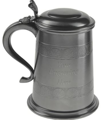 "Medieval Patterned 1pt Sheffield Pewter Tankard with Lid 15cm (6"")"