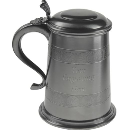 """Medieval Patterned 1pt Sheffield Pewter Tankard with Lid 15cm (6"""")"""