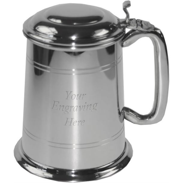 "Double Lined 1pt Sheffield Pewter Tankard with Lid 12.5cm (5"")"