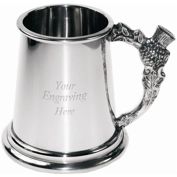 "Plain 1/4pt Sheffield Pewter Tankard with Scottish Thistle Handle 7.5cm (3"")"
