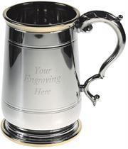 "Brass Trimmed Jacobean 1pt Sheffield Pewter Tankard 13cm (5.25"")"
