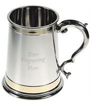 "Monarch Double Brass Band 1pt Sheffield Pewter Tankard 12cm (4.75"")"