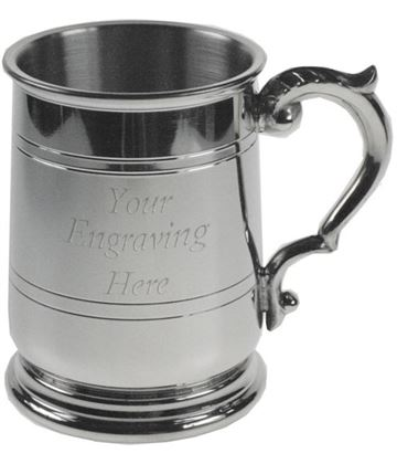 "Double Lined 1/2pt Jacobean Sheffield Pewter Tankard 9.5cm (3.75"")"