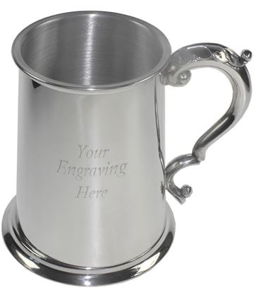 "Plain Satin 1pt Sheffield Pewter Tankard with Fancy Handle 11.5cm (4.5"")"