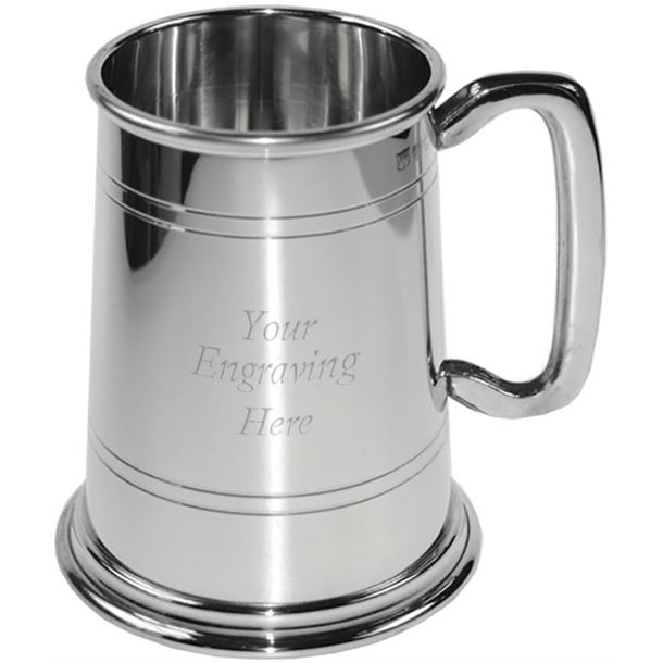 """Polished Double Lined 1pt Sheffield Pewter Tankard 12.5cm (5"""")"""