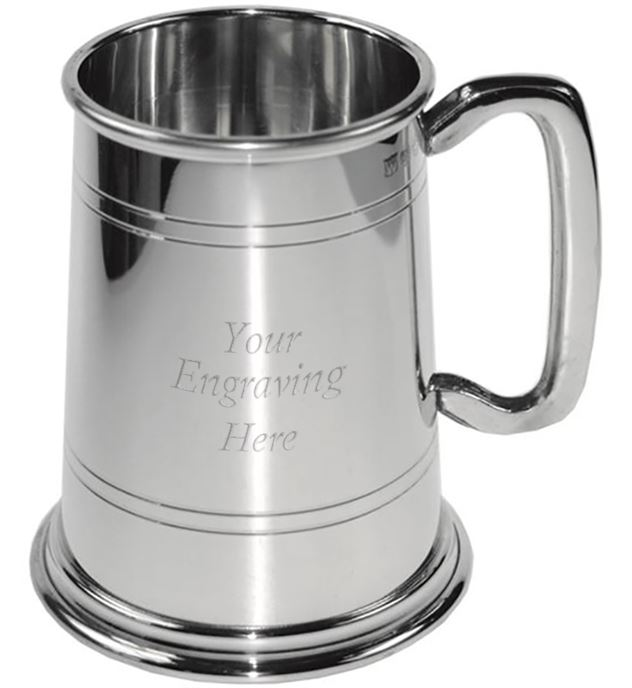 "Polished Double Lined 1pt Sheffield Pewter Tankard 12.5cm (5"")"