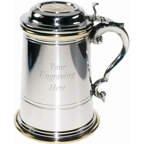"""Plain 1pt Extra Heavy Brass & Sheffield Pewter Tankard with Lid 15cm (6"""")"""