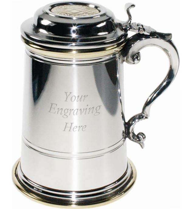 "Plain 1pt Extra Heavy Brass & Sheffield Pewter Tankard with Lid 15cm (6"")"