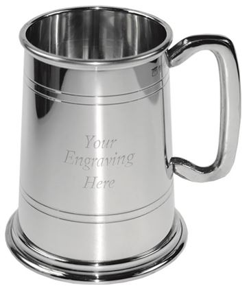 "Glass Bottom Double Lined 1pt Sheffield Pewter Tankard 12.5cm (5"")"