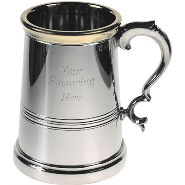 "Extra Heavy Brass Lipped 1pt Sheffield Pewter Tankard 13.5cm (5.25"")"