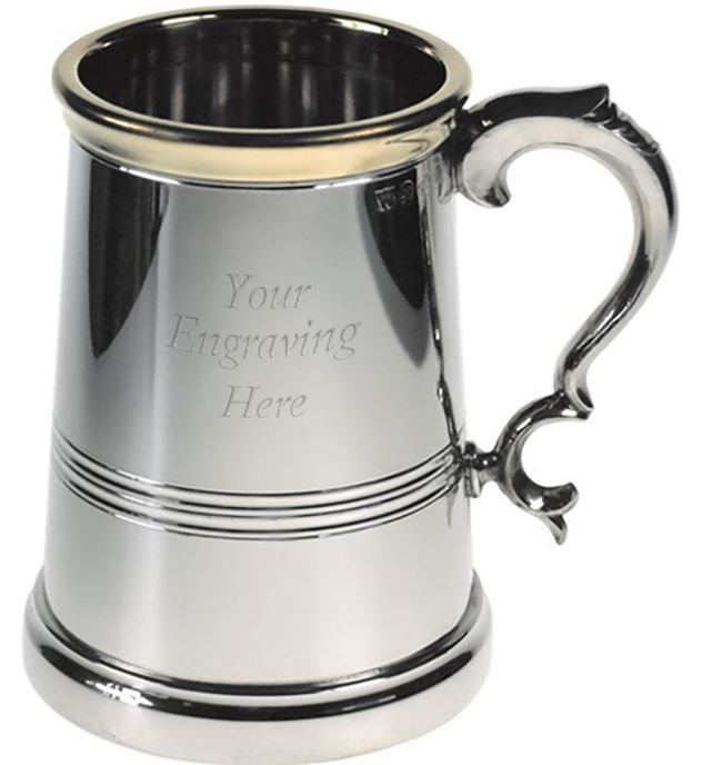 "Extra Heavy Brass Lipped 1pt Sheffield Pewter Tankard 13.5cm (5.25"")"