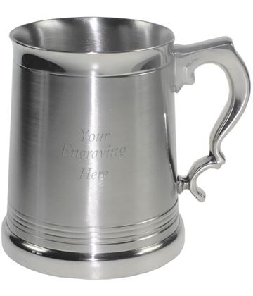 "Extra Heavy Satin Finish Lanark 1pt Sheffield Pewter Tankard 12cm (4.75"")"