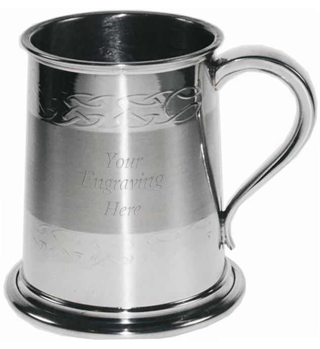 "Celtic Band Embossed 1/2pt Sheffield Pewter Tankard 9.5cm (3.75"")"