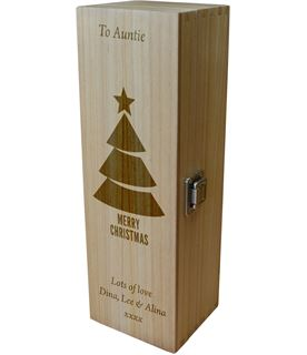 "Personalised Wooden Wine Box - Merry Christmas Tree 35cm (13.75"")"